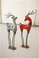 Christmas & Holiday Iron Deer Décor - Rustic Metal Reindeer Set (2)
