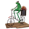 recycled metal green frog bicycle planter