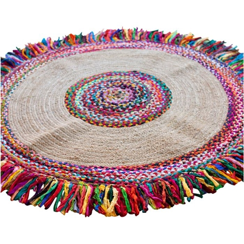 sea grass colorful braided kantha fringe round area rug