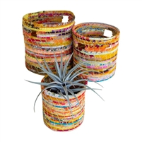 recycled kantha hampers set 3 round colorful