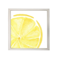 Photography art watercolor print yellow lemon slice square silver frame