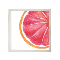 Photography art watercolor red orange grapefruit slice square silver frame