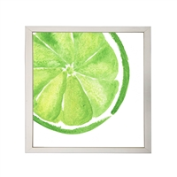 Photography art watercolor green lime slice square silver frame