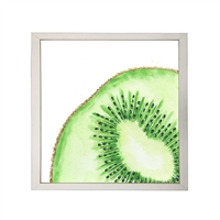 Photography art watercolor green kiwi slice square silver frame