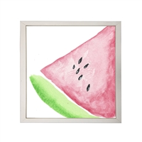 Photography art watercolor green pink watermelon slice square silver frame
