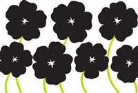 plat du jour black poppies green stems disposable placemat pad 50 sheets paper disposable soy-based ink entertaining recycled BPA free black + white flowers