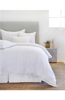 bedding duvet king queen sham standard euro big pillow white ocean pinstripe linen