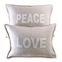 pillow sham flax linen set of 2 peace love rectangle flange
