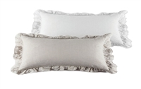 pillow long rectangle flax white ruffle feather down insert linen