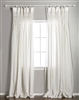 window panel curtain drapes cream off-white ivory linen smocked rod pocket