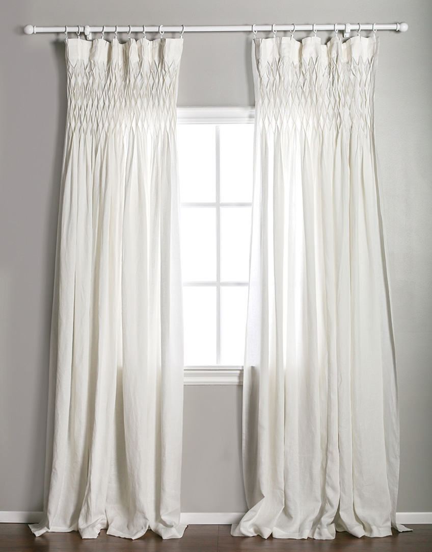 Window Panel Curtain D Cream Off White Ivory Linen Smocked Rod Pocket Larger Photo Email A Friend