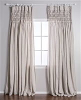 window panel curtain drapes flax natural linen smocked rod pocket