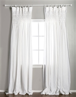 window panel curtain drapes light white linen smocked rod pocket
