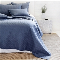 navy diamond quilted coverlet pillow shams