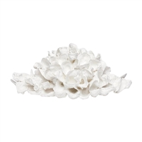 white oyster shell pile sculpture