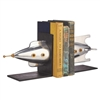 bookends aluminum brass iron rocket two halves iron base felt bottom brass antenna