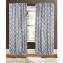 ivory embroidered navy blue wave curtain drapery panels