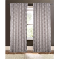 natural tan brown embroidery fern-like wave curtain drapery panels