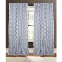 white gray wave embroidered curtain drapery panels