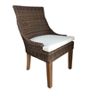 outdoor dining chair brown/black crocodile wicker chair concave back white cushion