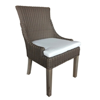 chair brown woven curved back white seat cushion wood legs Padma's Plantation