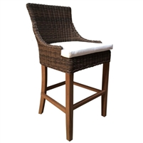 outdoor barstool brown/black crocodile wicker rattan white cushion