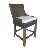 barstool brown woven curved back white seat cushion wood legs Padma's Plantation