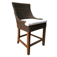 outdoor counter stool brown/black crocodile wicker rattan white cushion