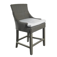 counter stool brown woven curved back white seat cushion wood legs Padma's Plantation