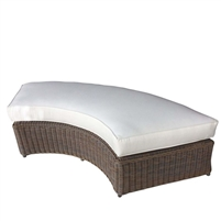 wicker brown rounded bench white cushion