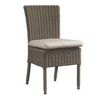 outdoor dining chair gray white cushion