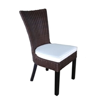 chair dining wicker woven four legs white cushion contemporary wood brown dark outdoor furniture