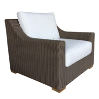 lounge arm chair white loose cushions Kubu weave all-weather wicker brown Padma's Plantation