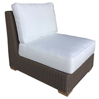 armless chair two white cushions brown Kubu weave all-weather wicker Padma's Plantation