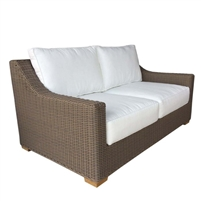 two cushion love seat white loose cushions Kubu weave all-weather wicker brown Padma's Plantation