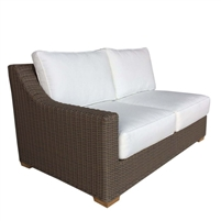 loveseat one arm four white cushions brown Kubu weave all-weather wicker left-facing Padma's Plantation