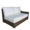 loveseat one arm four white cushions brown Kubu weave all-weather wicker right-facing Padma's Plantation
