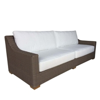 two cushion sofa white loose cushions Kubu weave all-weather wicker brown Padma's Plantation