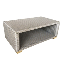 outdoor all-weather gray wicker coffee table aluminum frame teak feet lower shelf