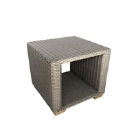 outdoor all-weather gray wicker side end cube table aluminum frame teak feet lower shelf