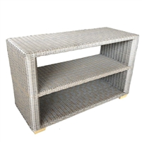 console table serving station outdoor wicker grey kubu weave aluminum frame teak feet shelf