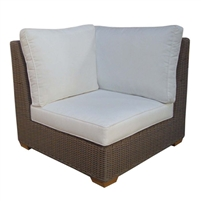 corner chair three white cushions brown Kubu weave all-weather wicker Padma's Plantation