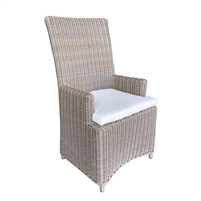 all-weather natural woven dining arm chair outdoors cushion
