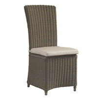 chair dining outdoor woven gray cushion white four legs high back Niko powder coated