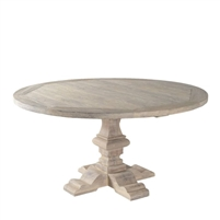 table round wood teak gray natural pedestal carved indoors outdoors dining