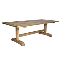outdoor teak dining table natural long rectangle wood two pedestals stretcher