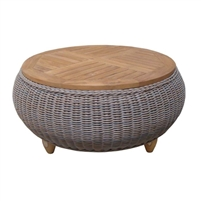 Outdoor Paradise Ottoman/Coffee Table w/Teak Top