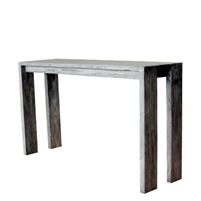 teak console table gray finish