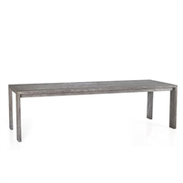 table dining outdoor rectangle reclaimed gray wood teak four legs