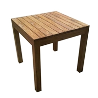 table outdoor square planked wood teak natural four legs rustic small
